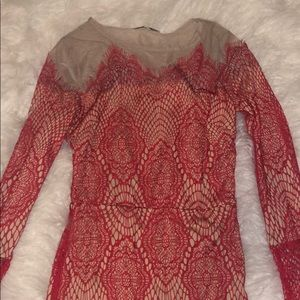 Lace Detail Red Dress